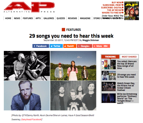 Photo/Video used in Alt Press Article