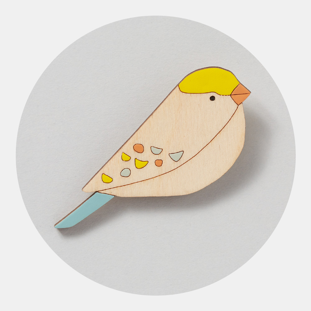 Songbird Bird Brooch - Inspired by the pretty songbirds of English gardens, my range of wooden bird brooches are lovingly hand-painted. The perfect gift for a lovely mum!