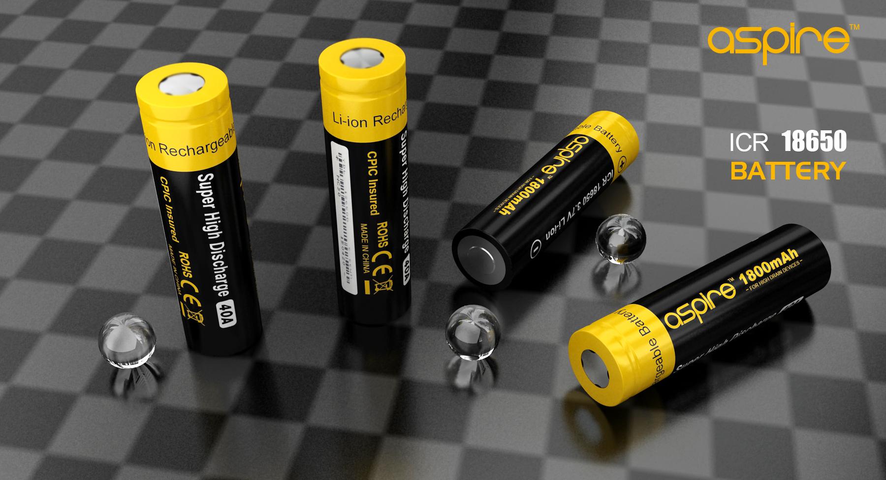 Aspire 18650 Battery(20A 2500MAH) & (40A 1800MAH)