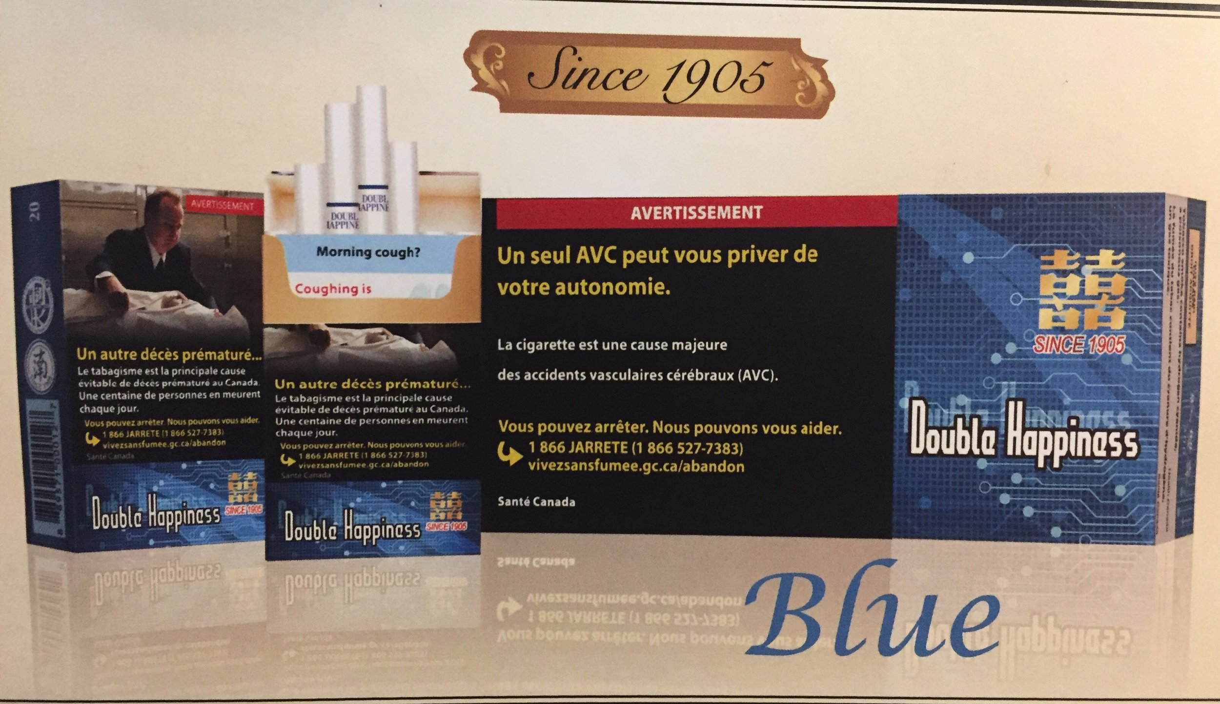 Blue: Low tar & Lighter Taste; Young & Stylish choice (Extra mild)