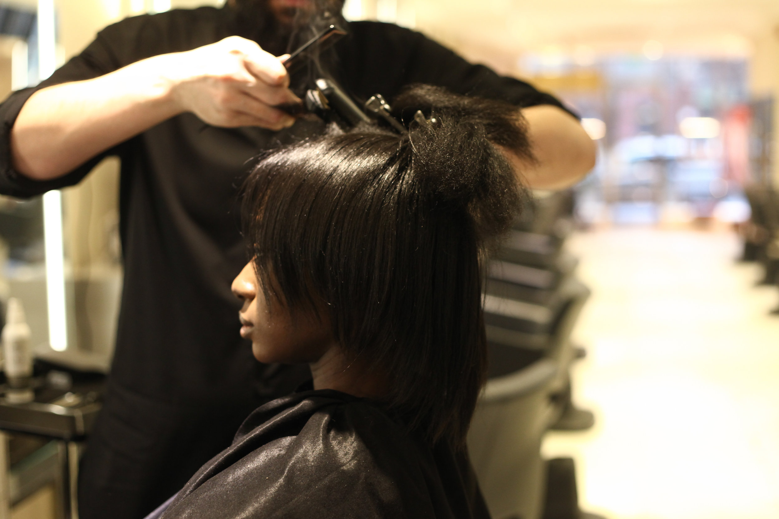 - To achieve a long-lasting, ultra smooth look, small sections were flat ironed with up to three passes