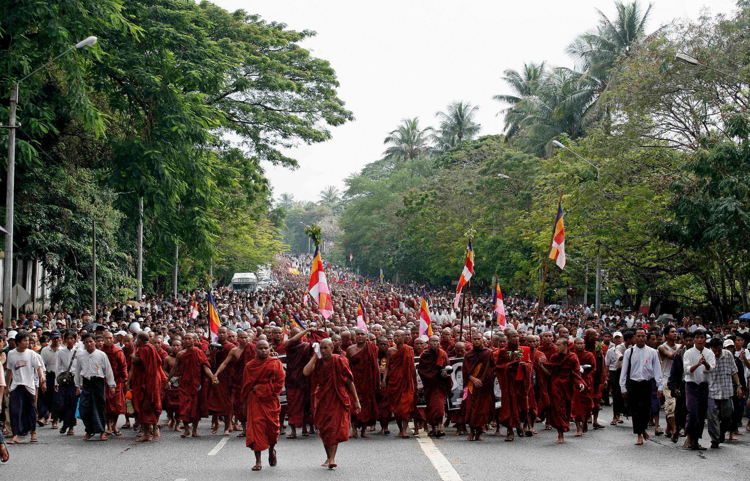 Thousands of Buddhist monks took part in Burma's Saffron Revolution (2007)