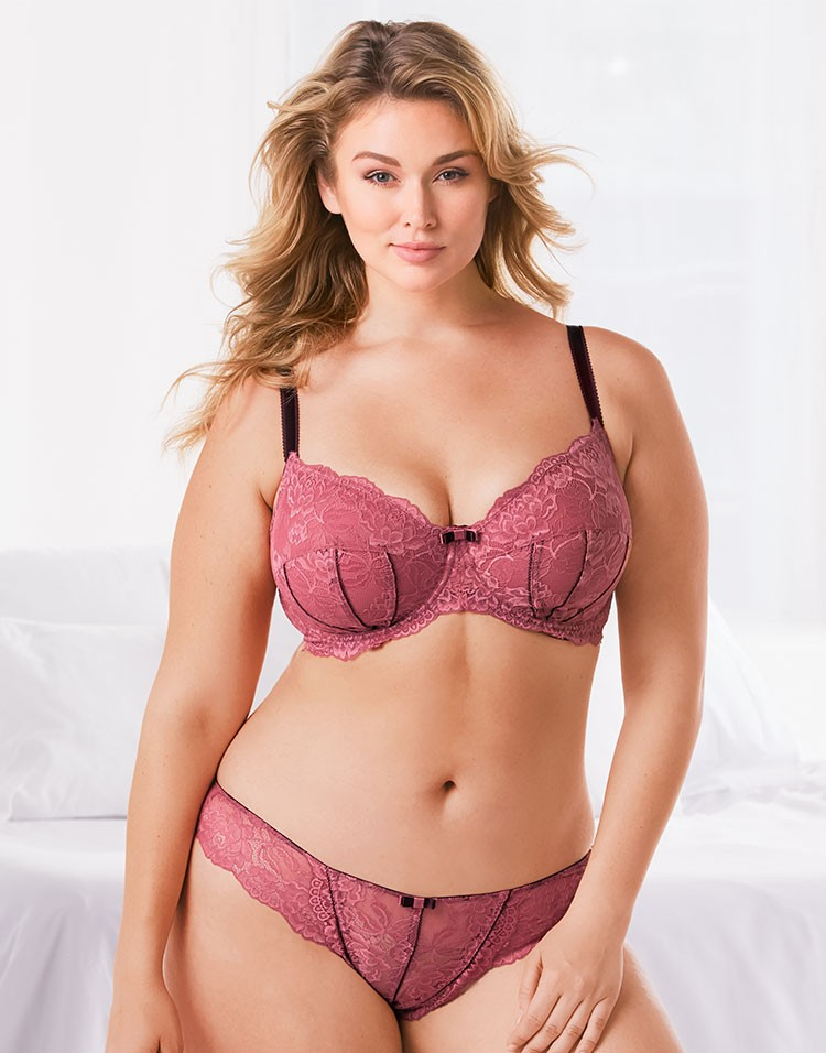 Adore Me Model Hunter McGrady Wearing Bra and Panty Set 1