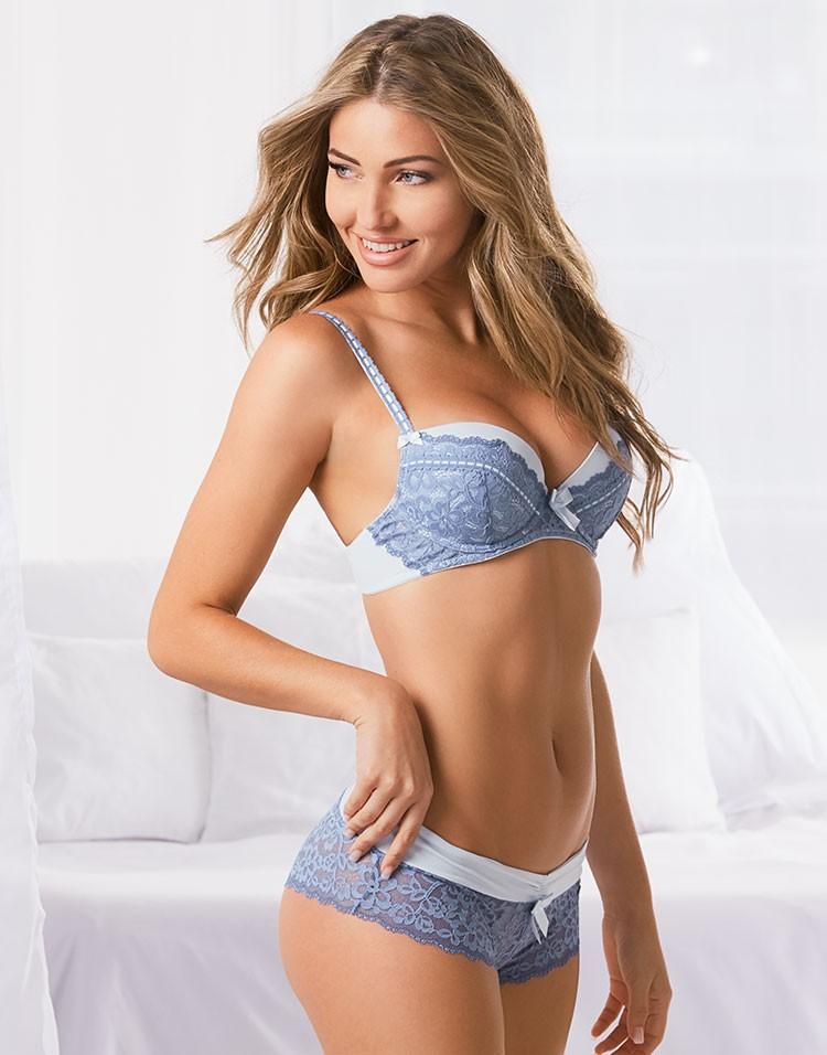 Adore Me Model Simone Villas Boas Wearing Gray Push-Up