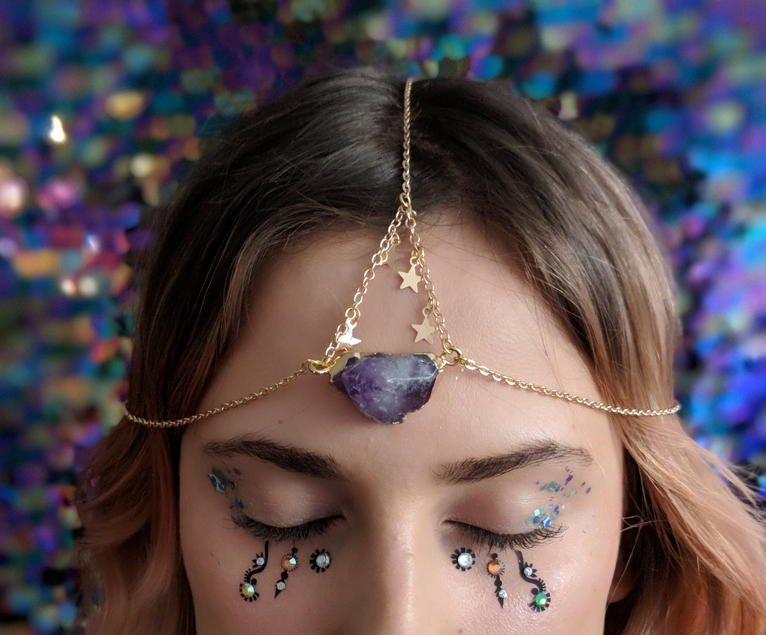 Mermaid earrings and amethyst stone