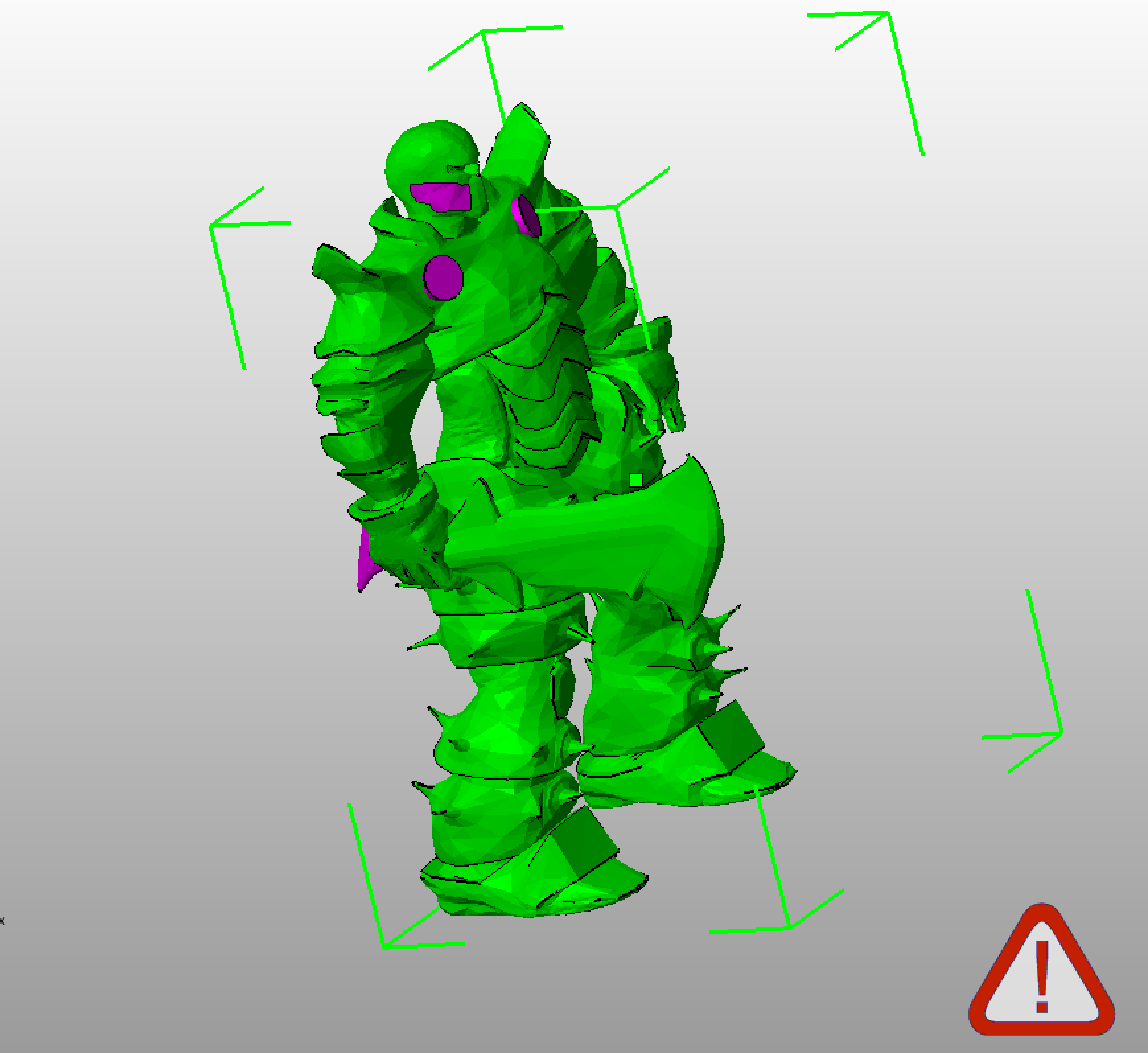 Netfabb Basic showing flipped faces in pink.