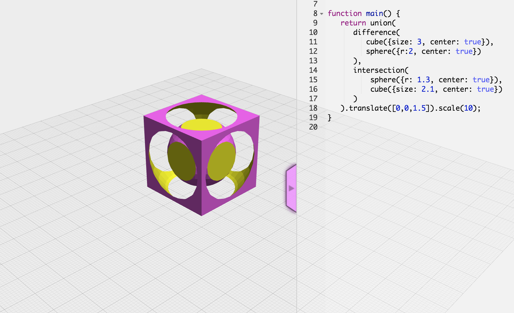 The technology behind OpenJSCAD was ported to C++ for use in stl_boolean.