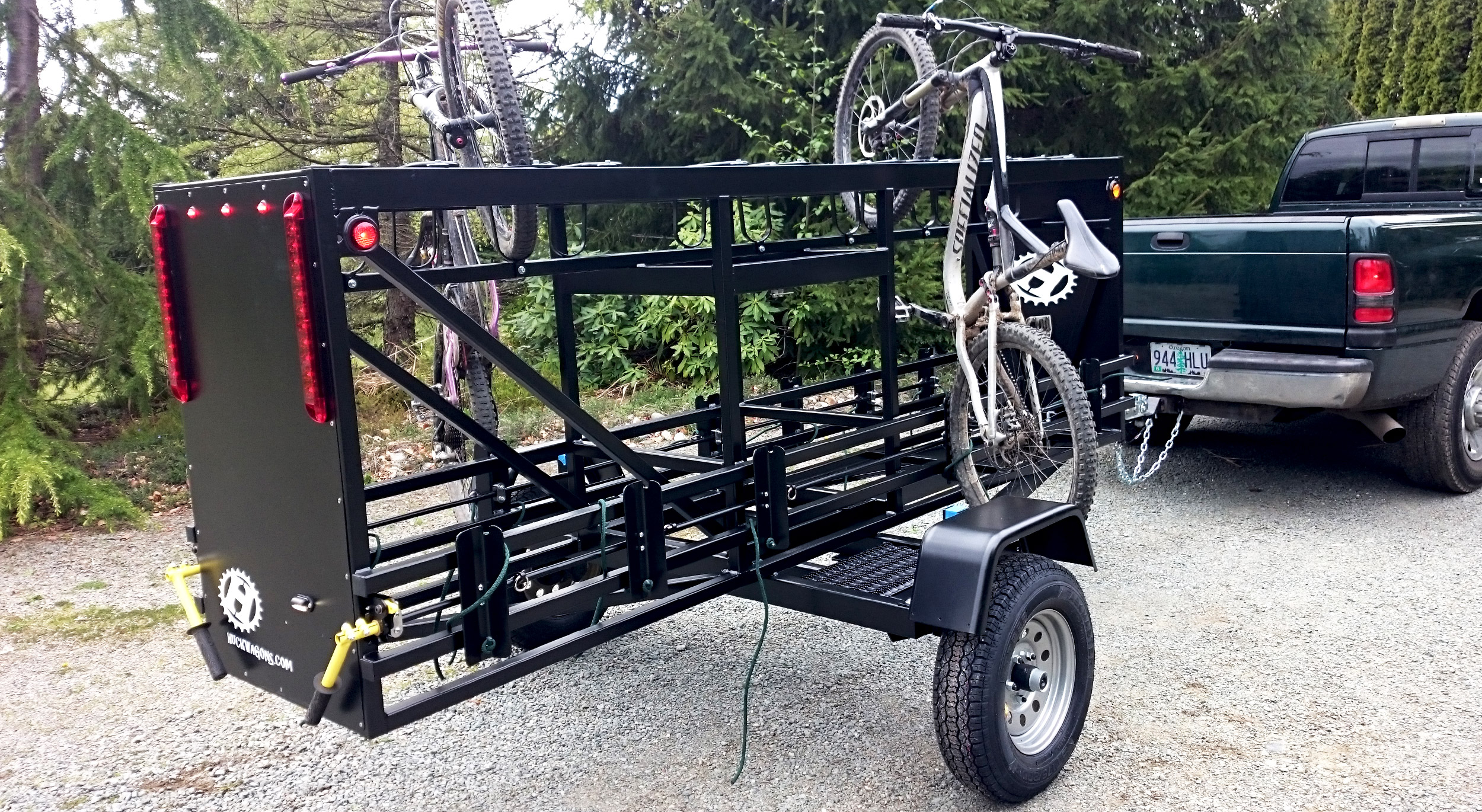 Medium Huckwagons Mountain Bike Shuttle Trailers ready to take on any bike hauling job