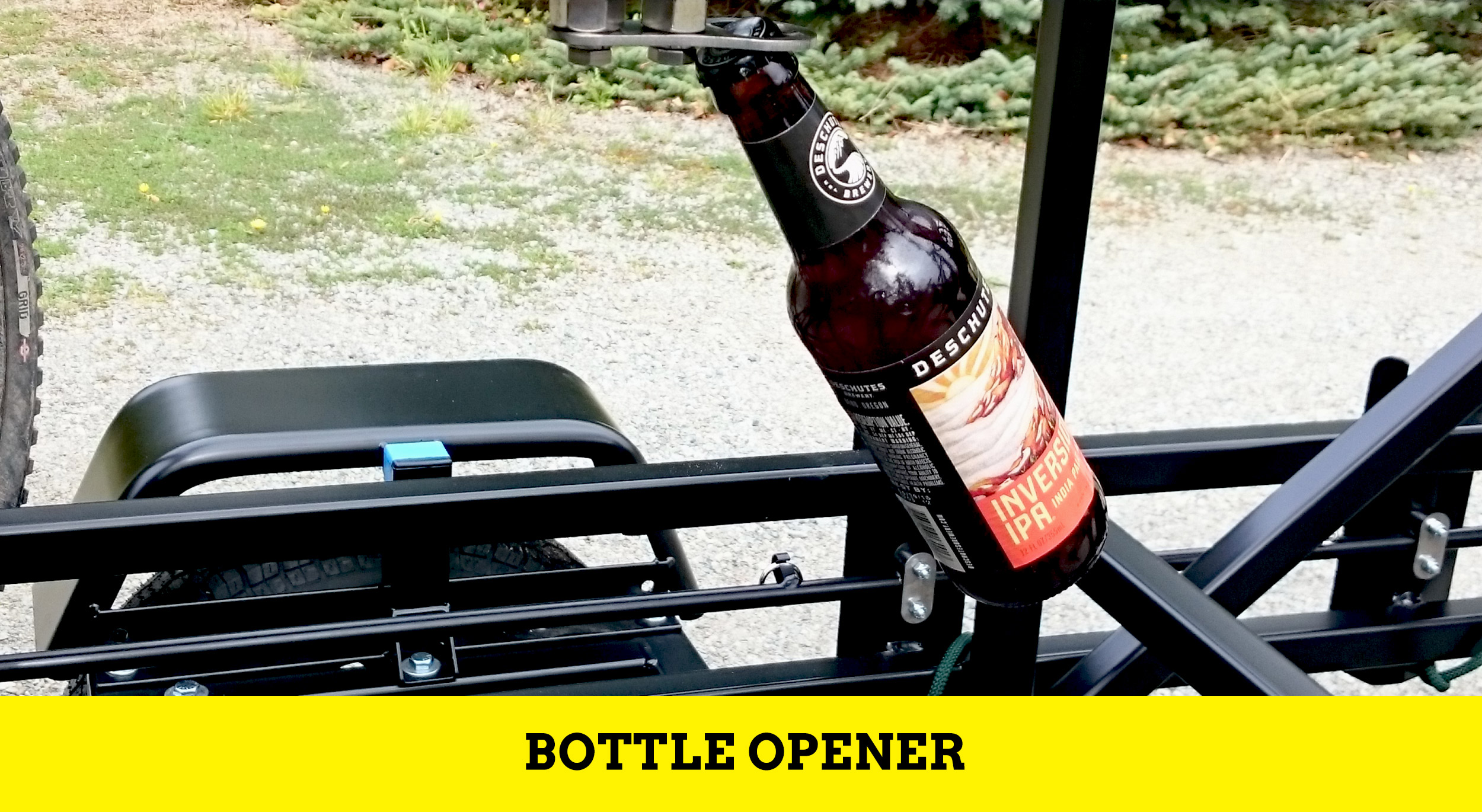 Huckwagons Mountain Bike Shuttle Trailer bottle opener