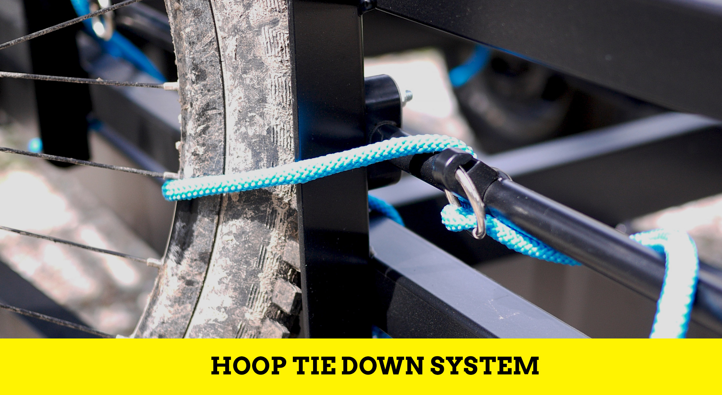 Huckwagons Mountain Bike Shuttle Trailer simple and quick hoop tie down system