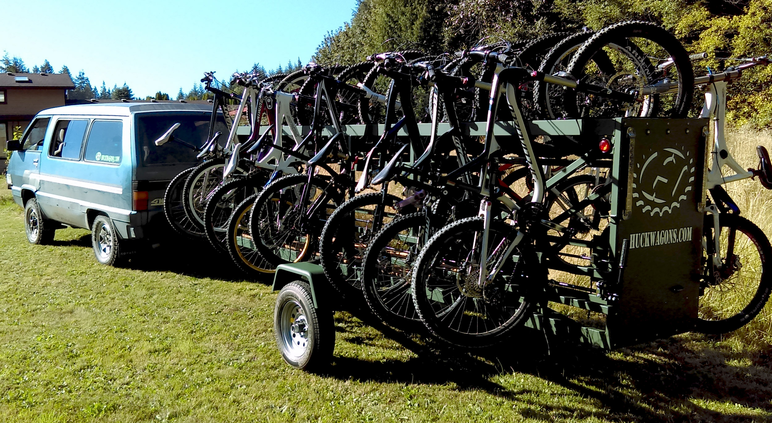 Huckwagons Mountain Bike Shuttle Trailers powder coated colors
