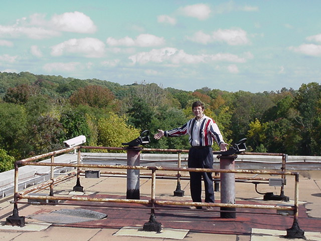 Eastern College observing deck atop McInnis and Dr. David Bradstreet