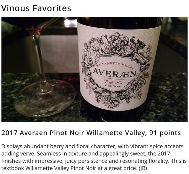 2017 WV Pinot Noir featured in Vinous Favorites today with 91 points 💫 @vinousmedia