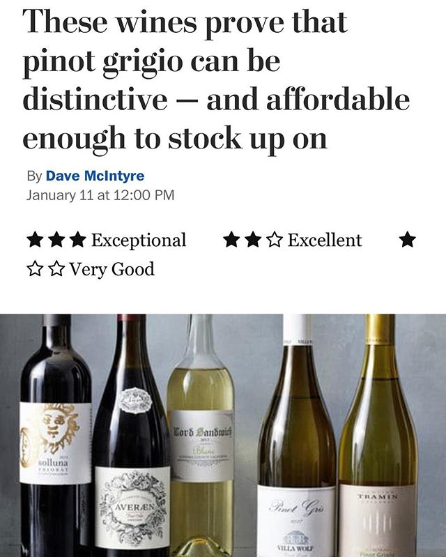 "Today's @washingtonpost ""Averaen is an affordably priced pinot noir that gives a true taste of Oregon character."" ⭐️⭐️"