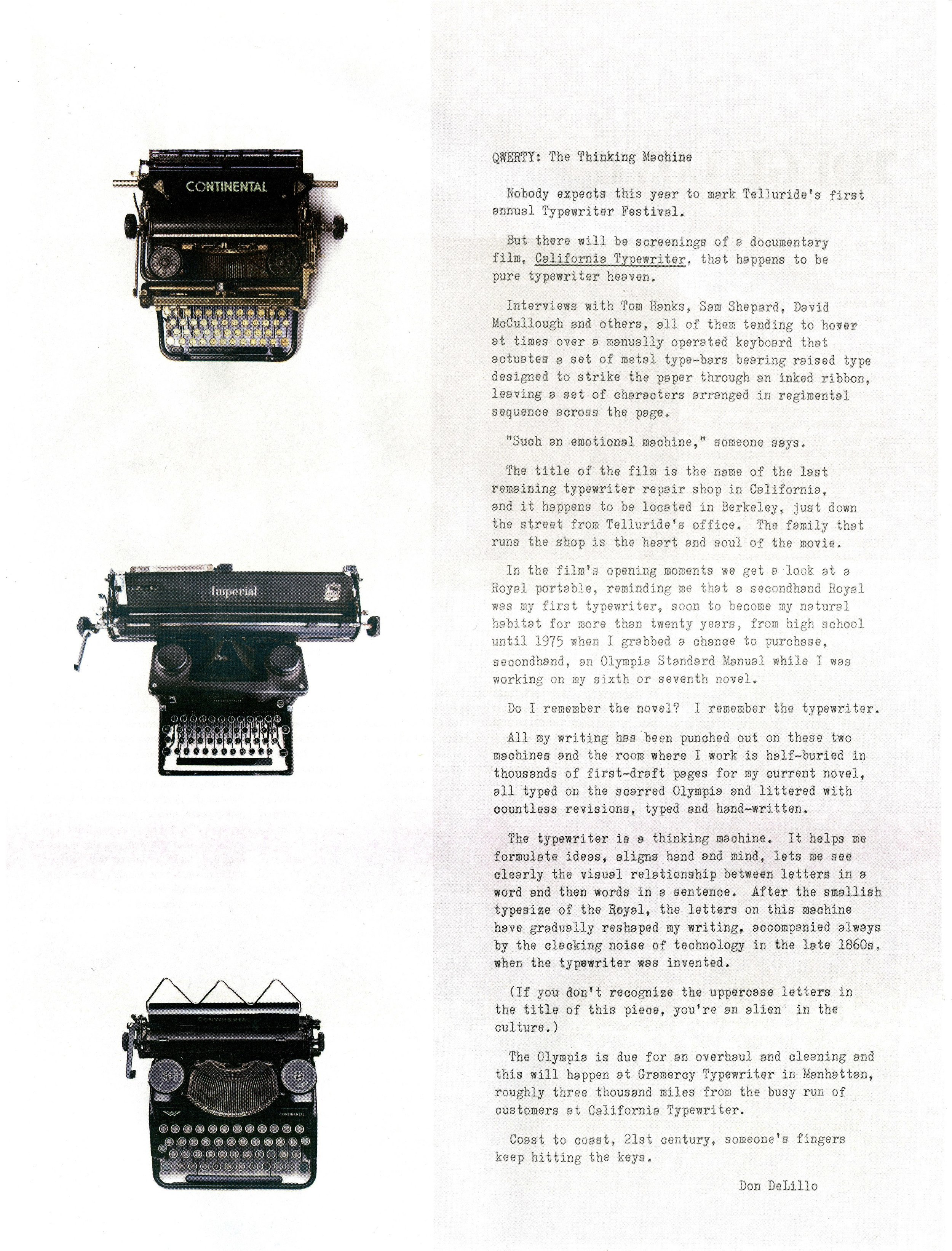 Don DeLillo - QWERTY: The Thinking Machine