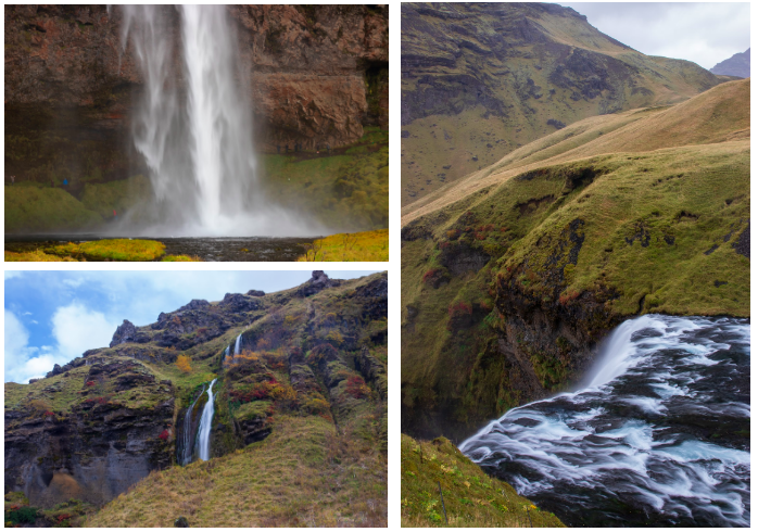Clockwise from top left: The base of Seljalandsfoss and some wet hikers, Skógafoss from the top, and a small waterfall between Seljalandsfoss and the nearby Gljúfrafoss with just a bit of sun peeking out.