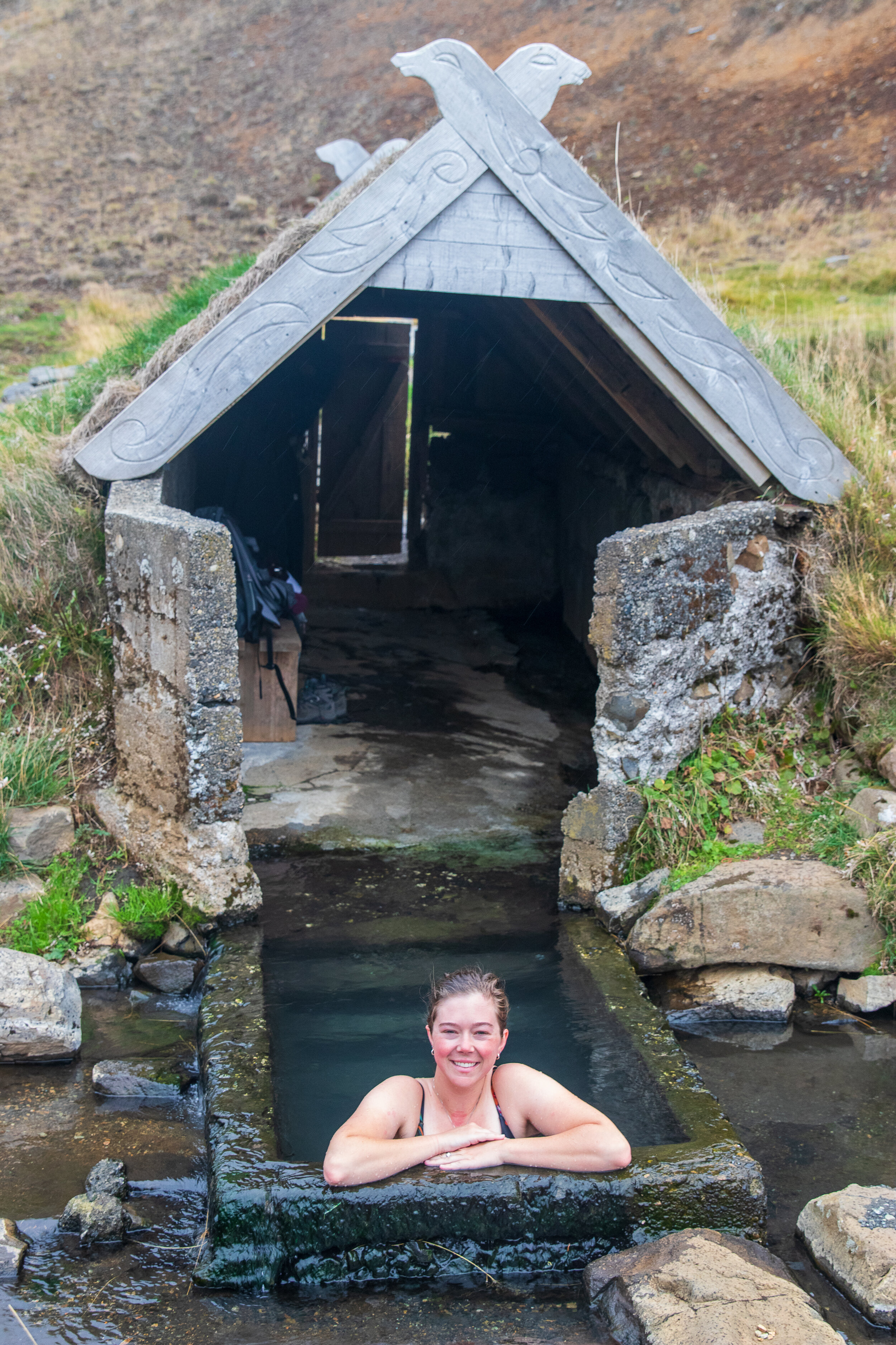 Julia in the first of several tubs around the old viking house.