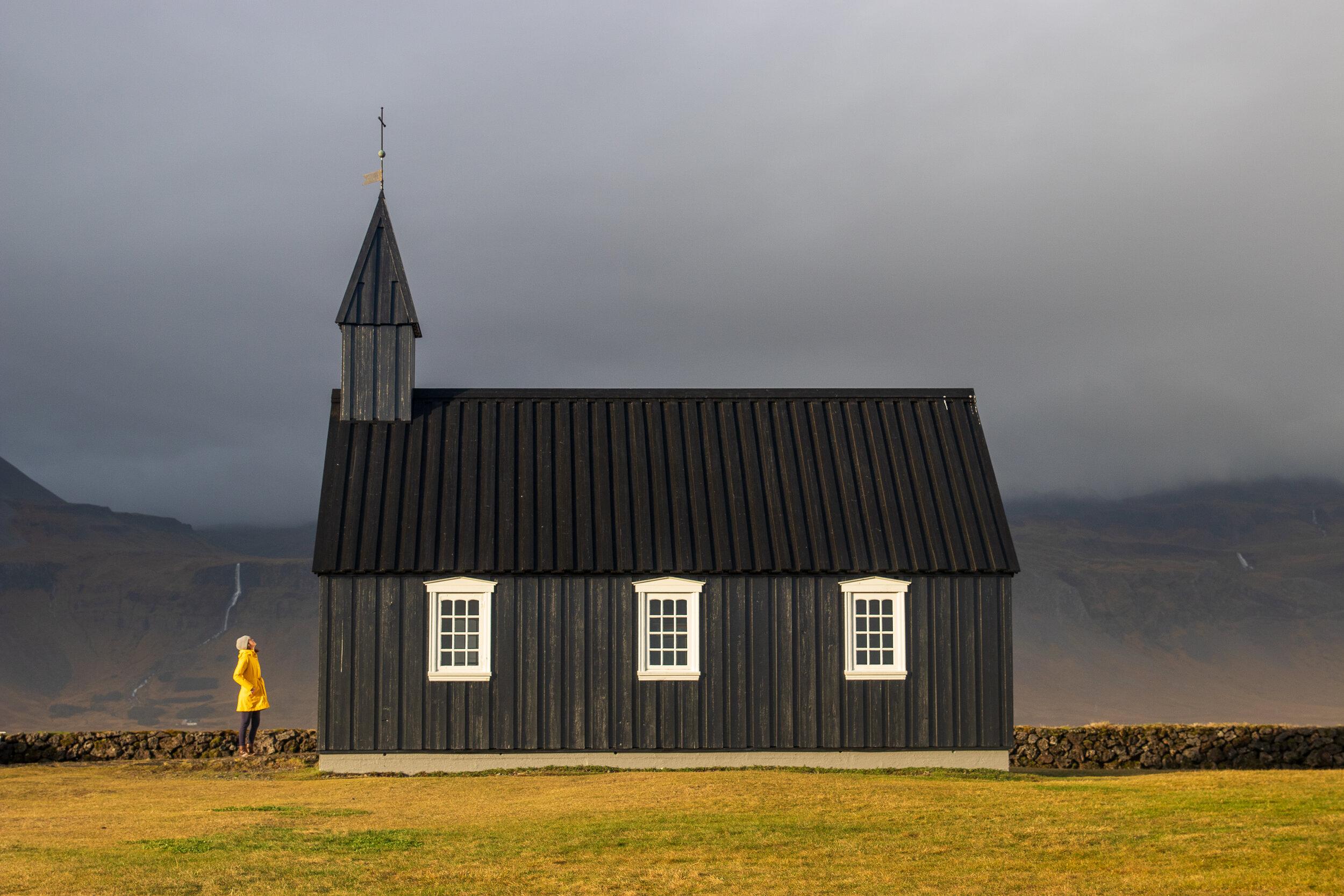 Búðakirkja (black church) dating from the 19th century in the town of Búðir.