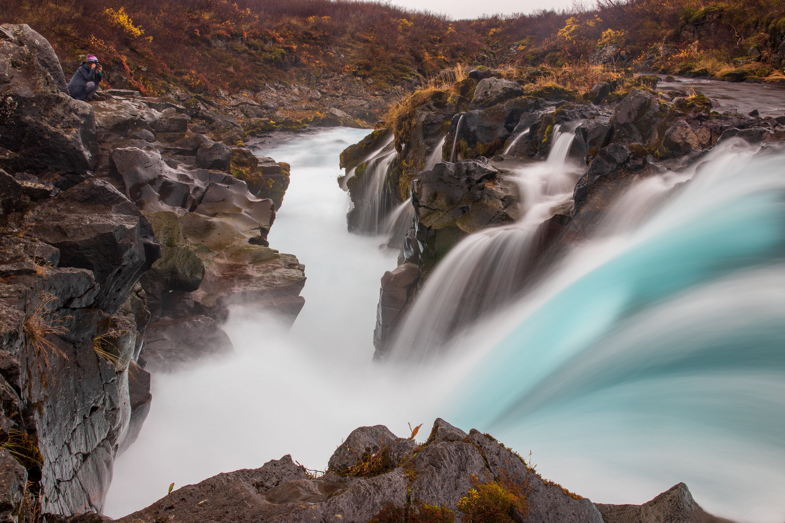 On the way we stopped at Bruarfoss, Iceland's bluest waterfall. The sky blue water characteristic of these falls is from fine glacial silt suspended in the water.