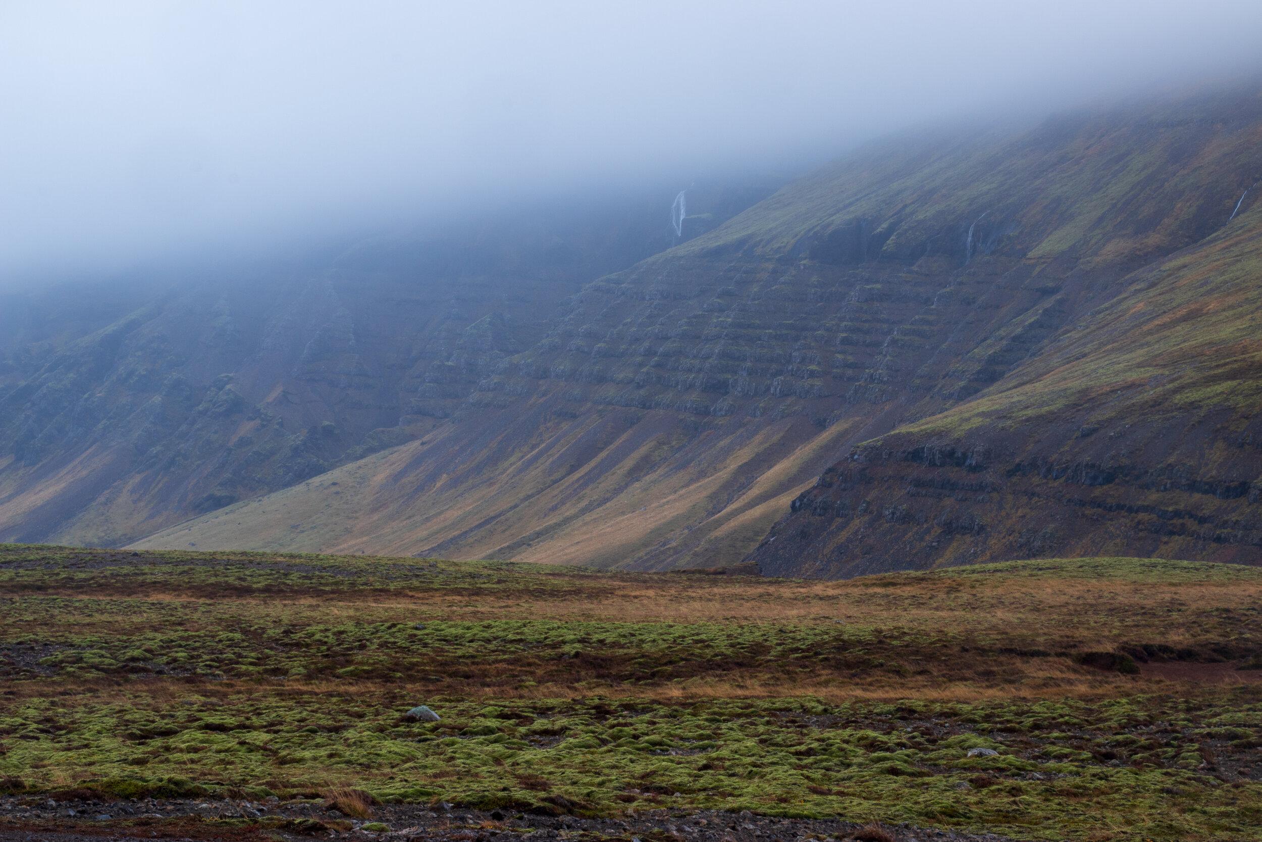 Treeless valley near þórufoss, on the way to Hvalfjör∂ur.