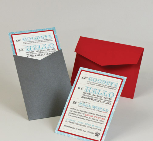 modern block style gray and red graduation annoucement party invitation.jpg