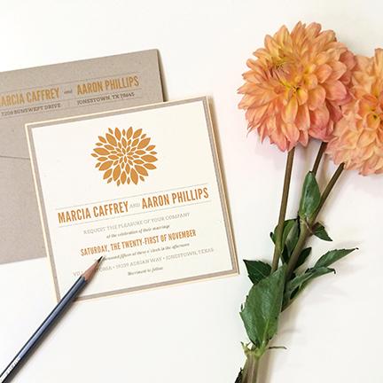 jsd-e modern flower orange kraft square wedding invitation.jpg