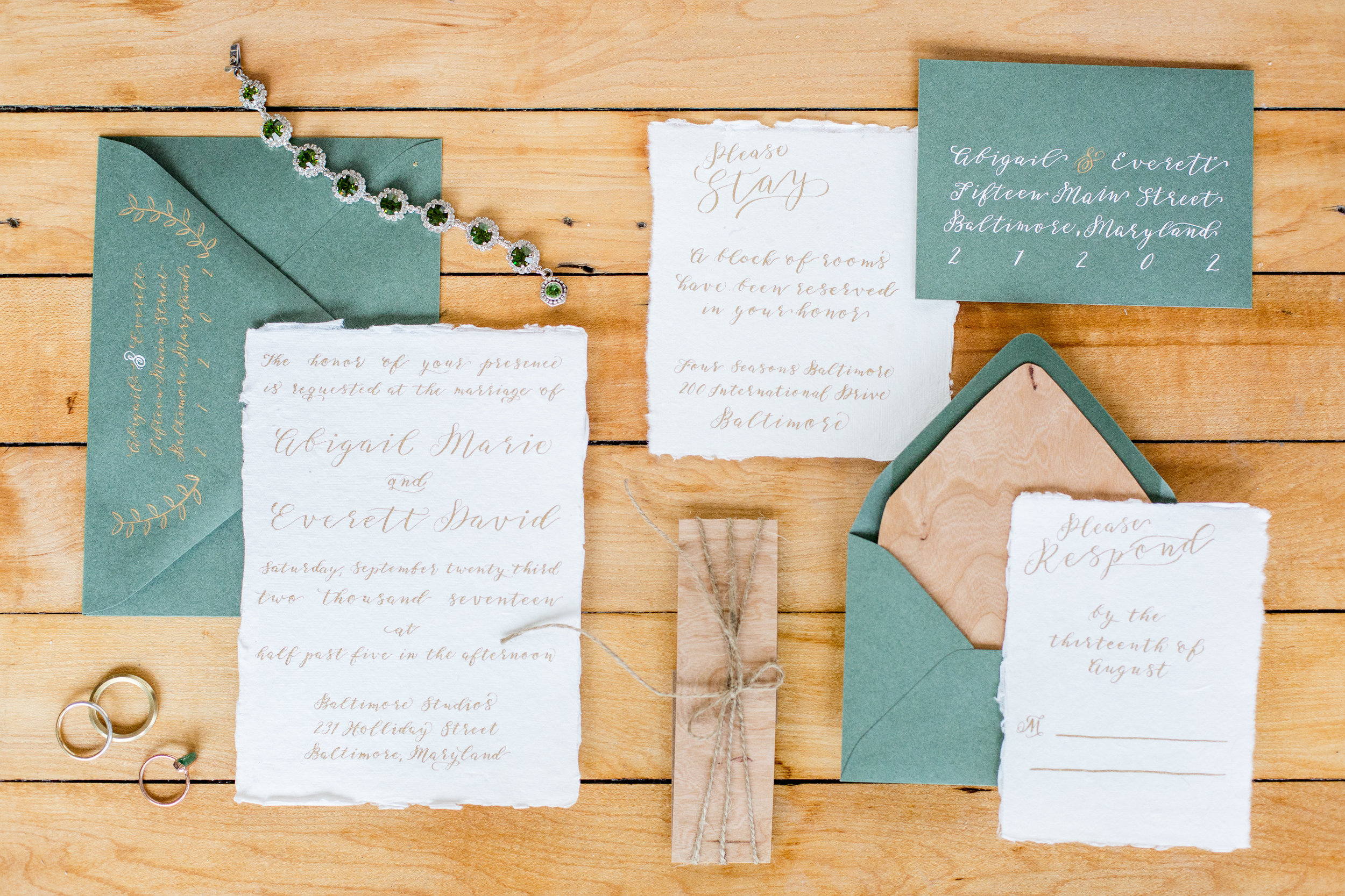 Wood and handmade paper... - ...for the invitation suite.