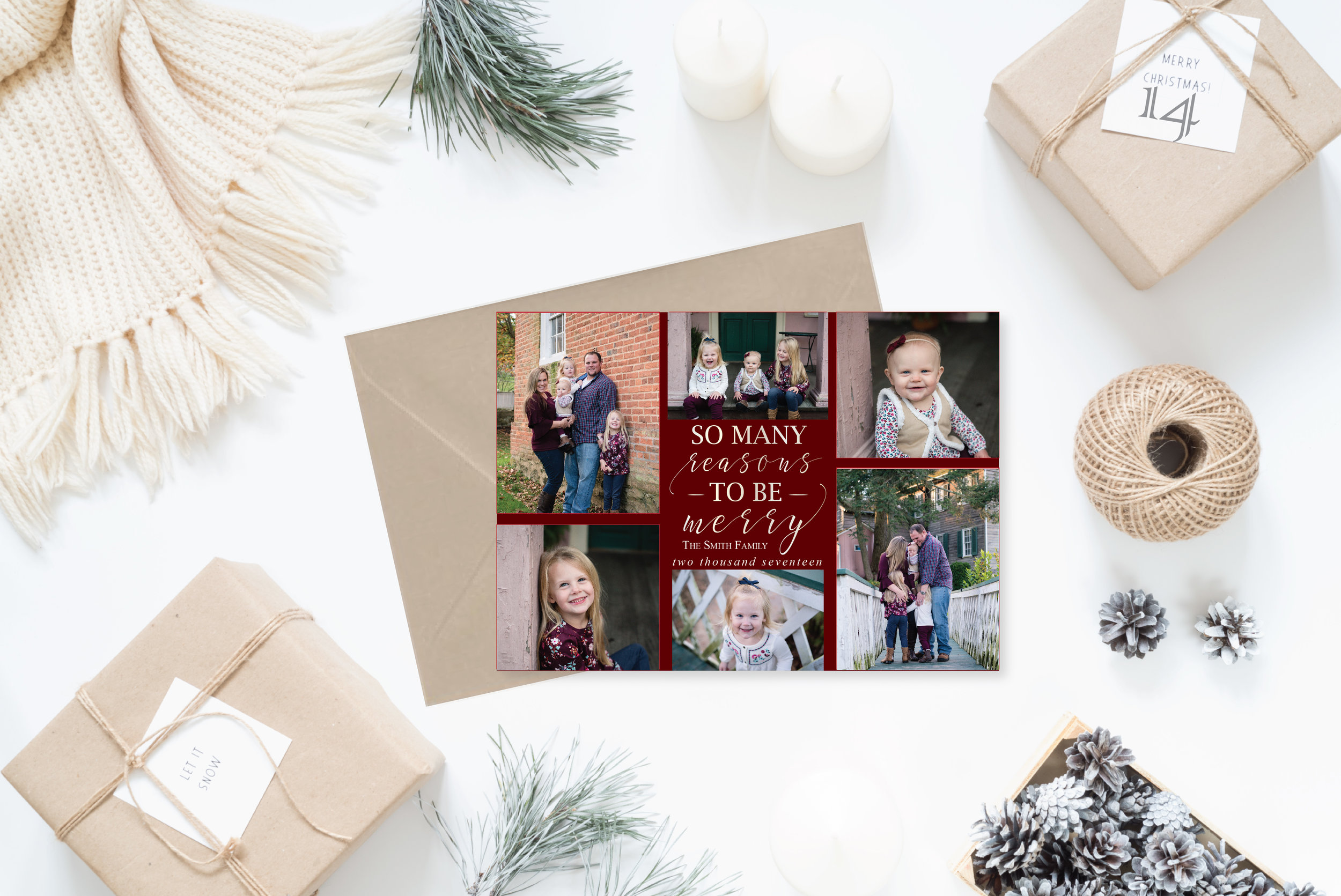 14- Styled Christmas Cards Holiday Cards 2017 2_So many reasons to be merry collage.jpg