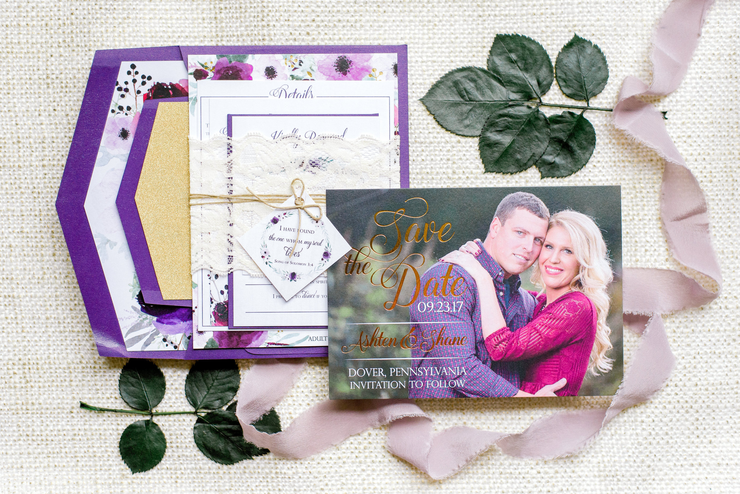 Purple Central PA, York PA, JesSmith Designs, custom, wedding, invitations, bridal, announcements, save the date, baby, hanover, calligraphy, baltimore, wedding invitations, lancaster, gettysburg Gold-0076.jpg