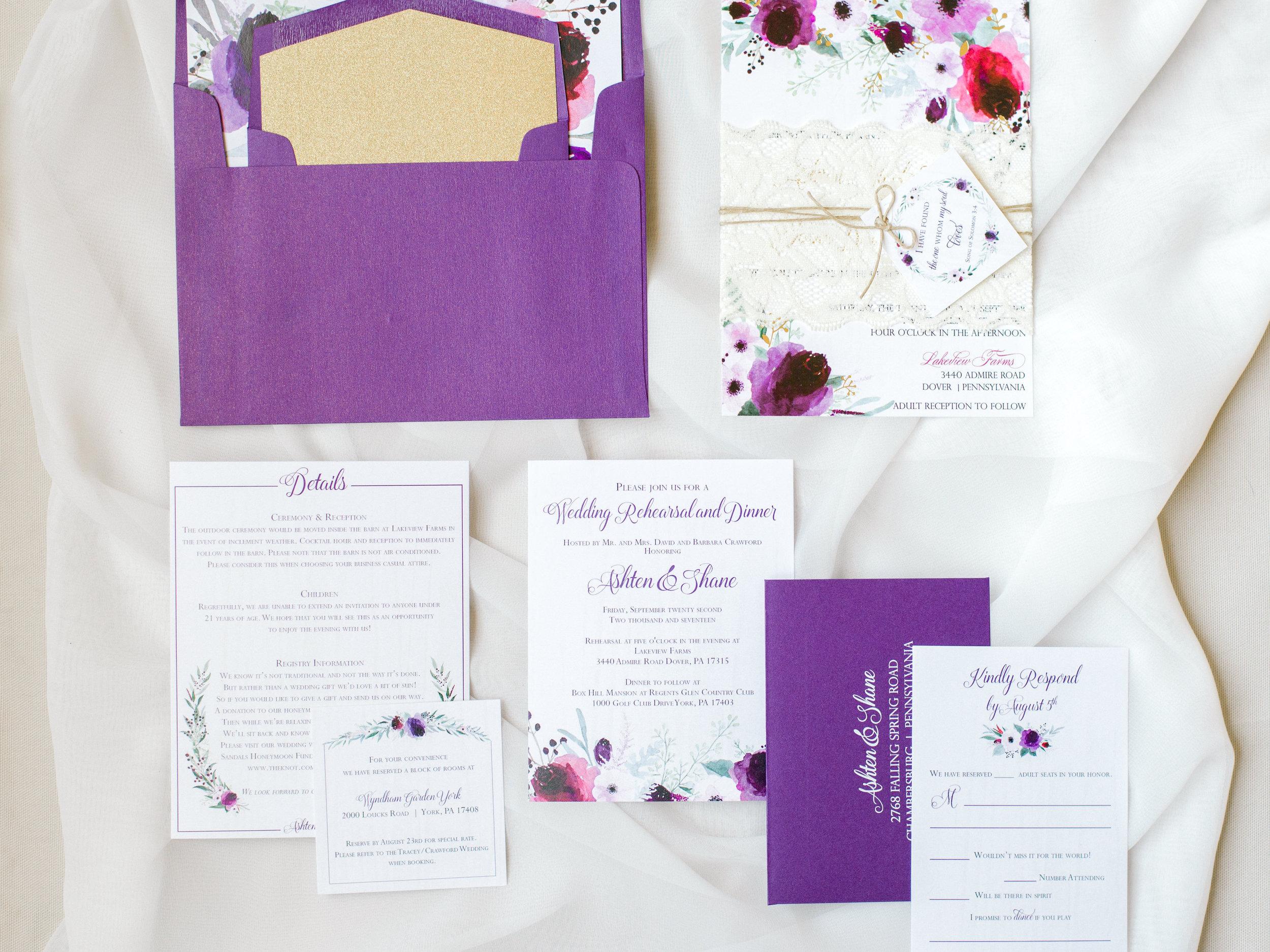 Purple Central PA, York PA, JesSmith Designs, custom, wedding, invitations, bridal, announcements, save the date, baby, hanover, calligraphy, baltimore, wedding invitations, lancaster, gettysburg Gold-0111.jpg