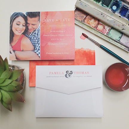 Central PA, York PA, JesSmith Designs, custom, wedding, invitations, bridal, announcements, save the date, baby, hanover, calligraphy, baltimore, wedding invitations, lancaster, gettysburg- pink coral watercolor custom photo save the date.JPG