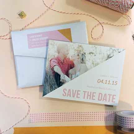 Central PA, York PA, JesSmith Designs, custom, wedding, invitations, bridal, announcements, save the date, baby, hanover, calligraphy, baltimore, wedding invitations, lancaster, gettysburg-e picture pink gold modern save the date.JPG
