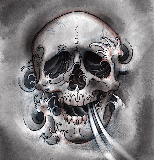 I'd love to do this piece as either a full back, upper thigh, or as part of a sleeve. This will also hopefully become a painting. Get on this before @joshualeewilson beats you to it. @safehousetattoo #skulls #fingerwavestattoo #nashville