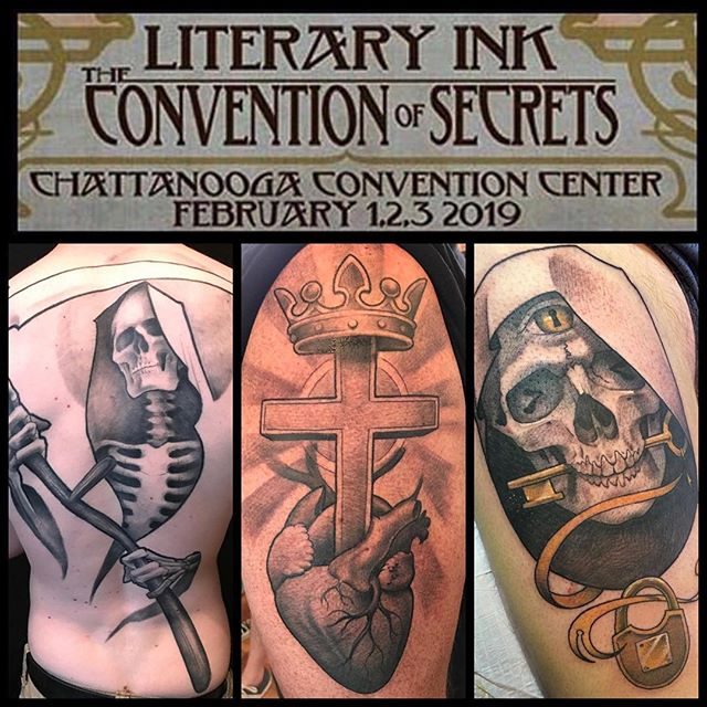 CHATTANOOGA! I am very excited for the upcoming @literaryink Tattoo Convention in Chattanooga February 1-3. I have time available and would love to do some fun stuff. I'll be working hard with @chipperharbin @adamjacksonart and @englikethelang that weekend in the @safehousetattoo booth. Come get tattooed, or just come say hello! See y'all soon. #chattanooga