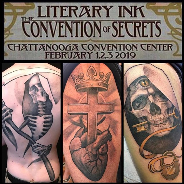 CHATTANOOGA!!! Feb 1-3 I'll be tattooing at the @literaryink tattoo convention along side my @safehousetattoo compatriots @chipperharbin @englikethelang and @adamjacksonart .I still have some spots open and am totally down to party with some walk-ups. Email or DM if you'd like to set up and appointment.