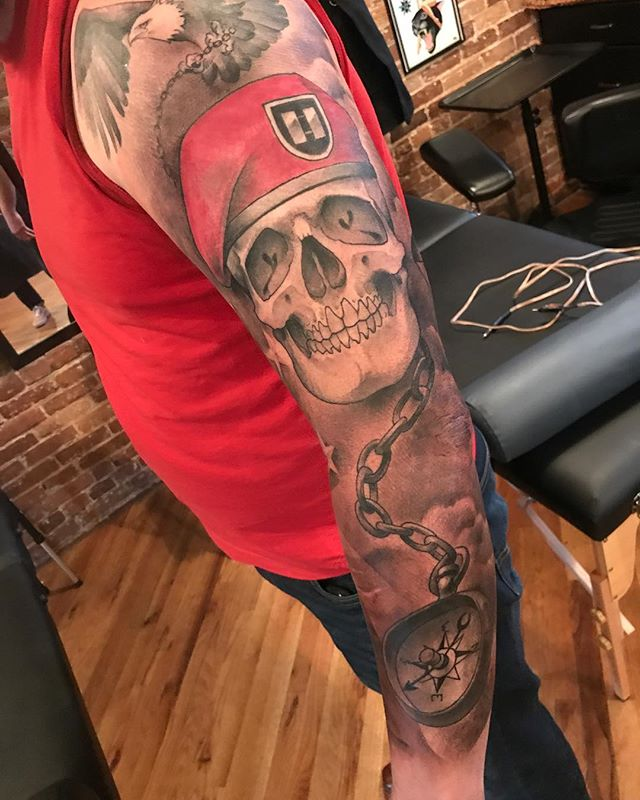 Got the background in on this sleeve for a former Army Airborne Captain. #safehousetattoo #nashville #airbornetattoo #skulltattoo