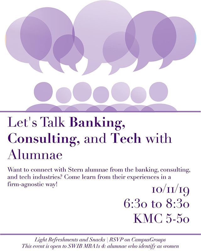 MBA1s: Really exciting event with a wide variety of alumnae on October 11th / sign up on CampusGroups #nyustern #nyuswib