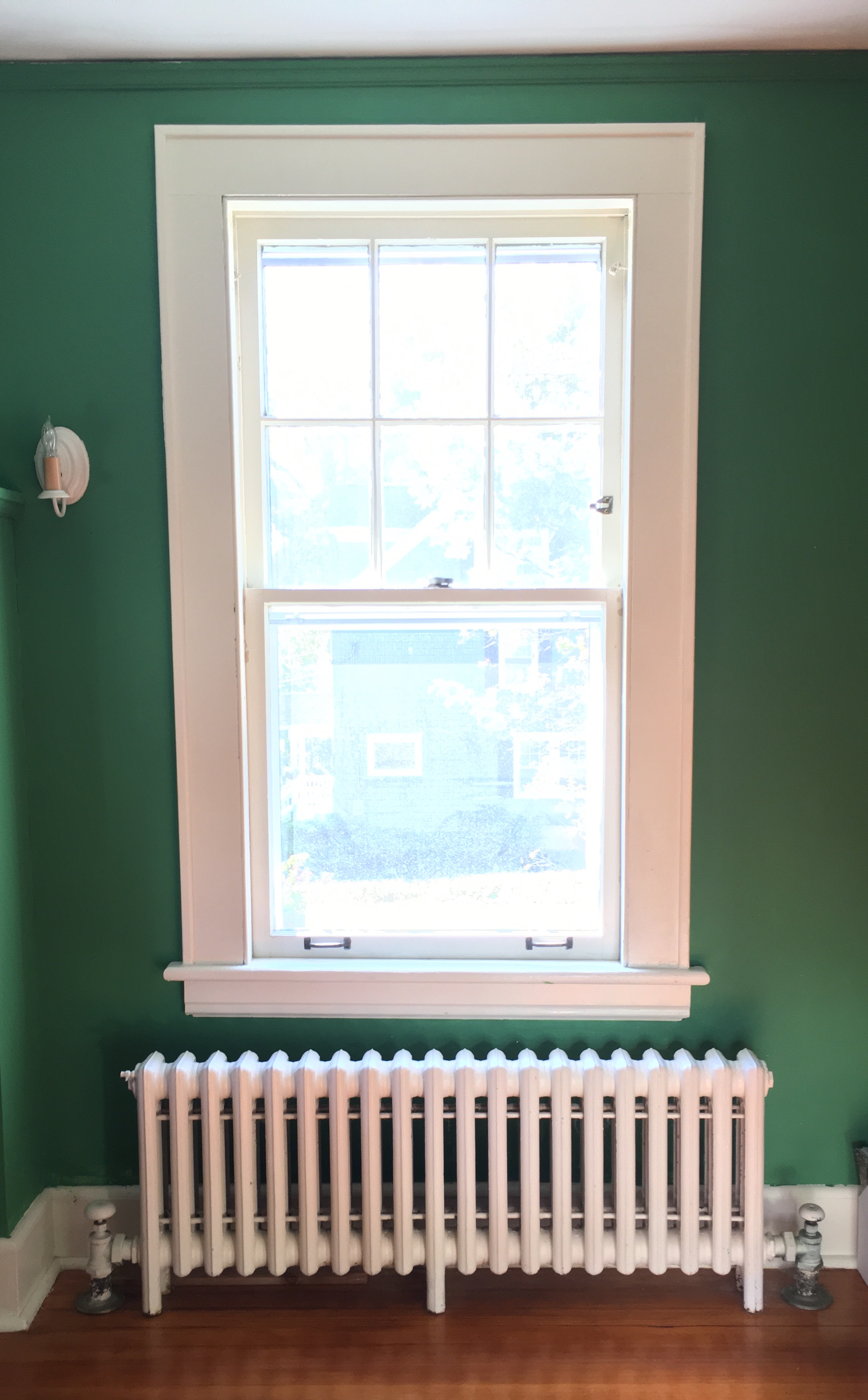 Once the walls were painted the windows almost looked worse against the stark contrast of the green.