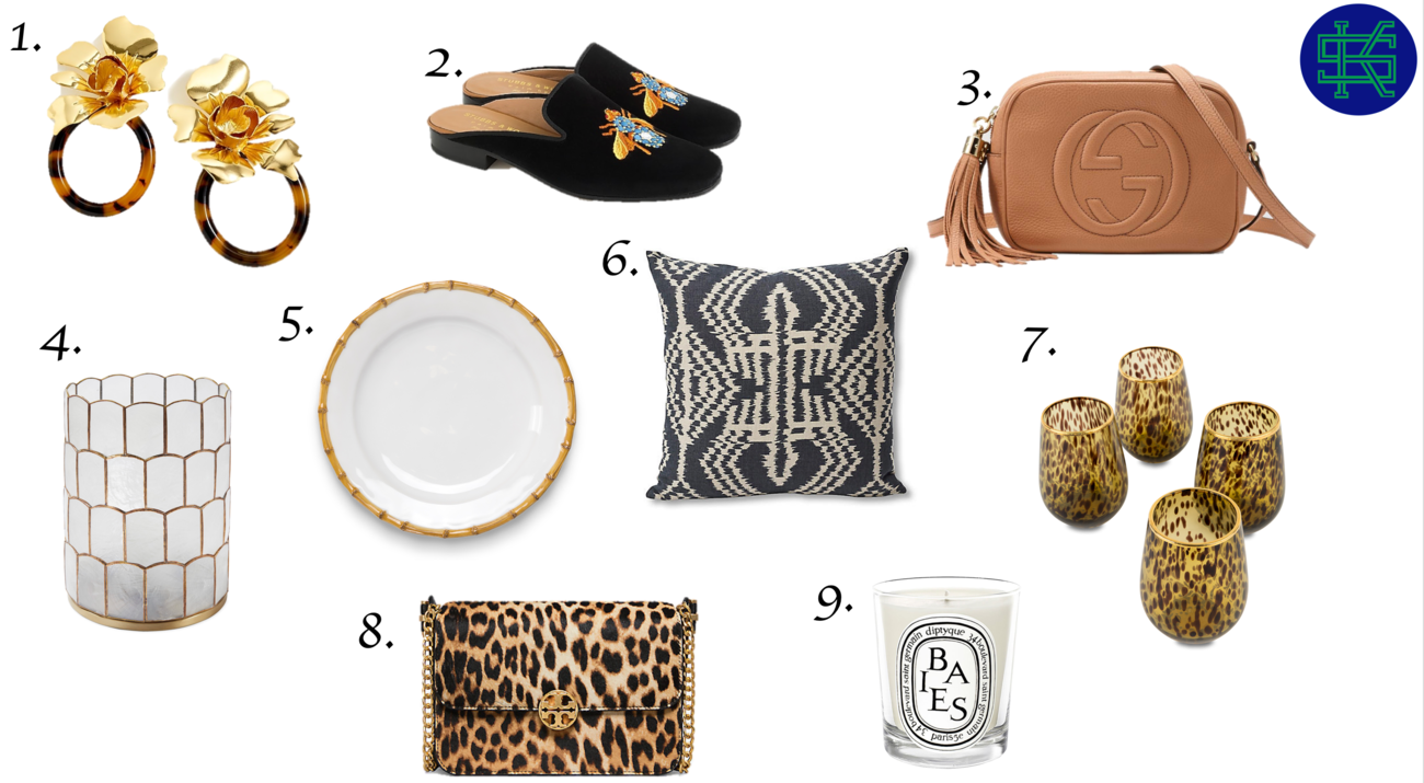 1. Earrings,     2.Loafers   ,    3.Cross Body Bag   ,    4. Capiz Candle Holder   ,    5. Bamboo Plate   ,    6. Ikat Pillow,       7. Tortoise Glasses   ,    8. Leopard Bag   ,    9. Scented Candle
