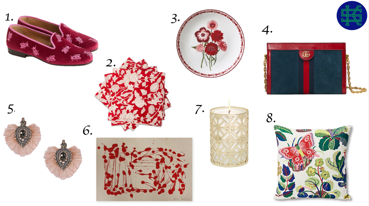 1.    Velvet Loafers   ,    2. Block Print Napkins   ,    3. Floral Salad Plate   ,    4. Suede Shoulder Bag   ,    5. Fringe Earrings   ,    6. Abstract Art   ,    7. Fretwork Candle   ,    8. Butterfly Pillow