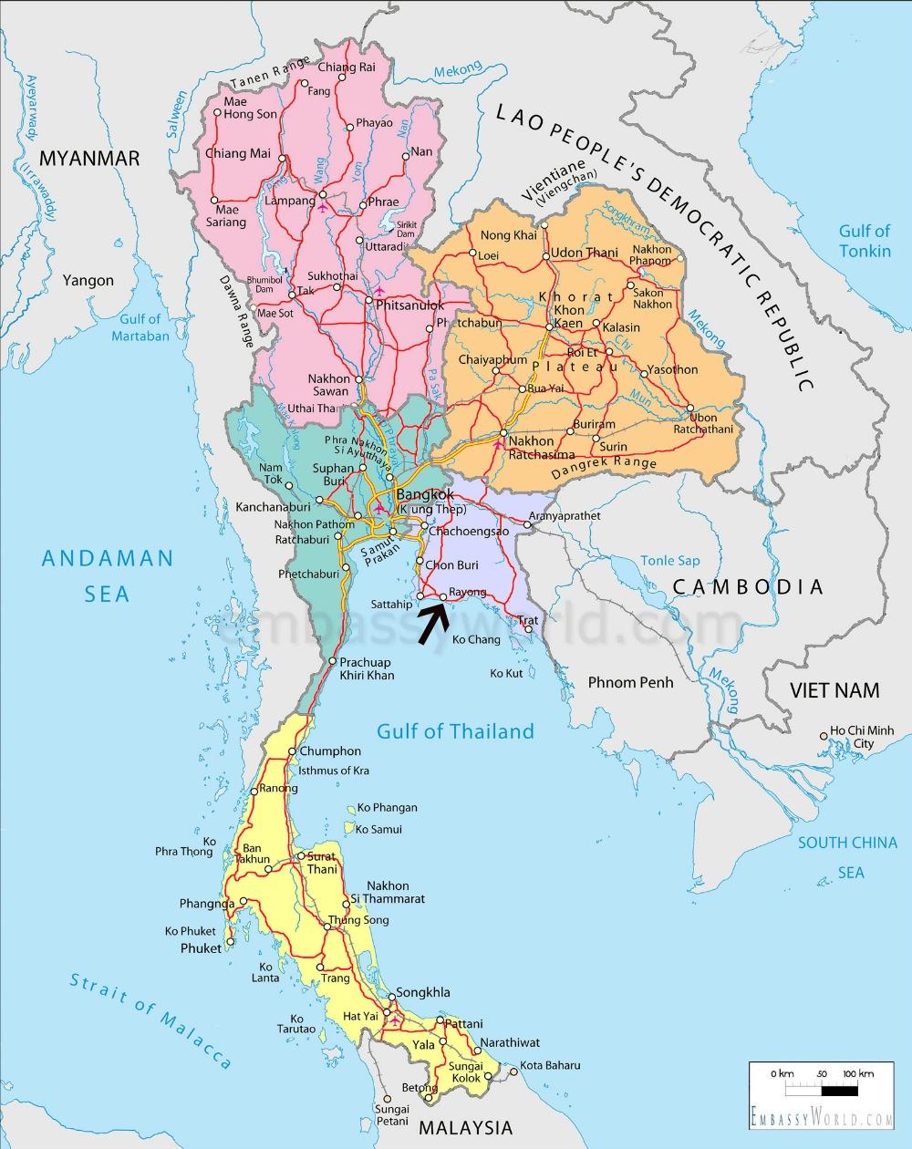 Pattaya, Rayong, Mae Phim och Koh Samet ligger på den lila delen av kartan.