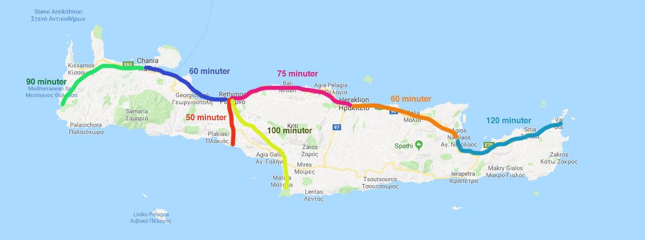 Avstånd på Kreta
