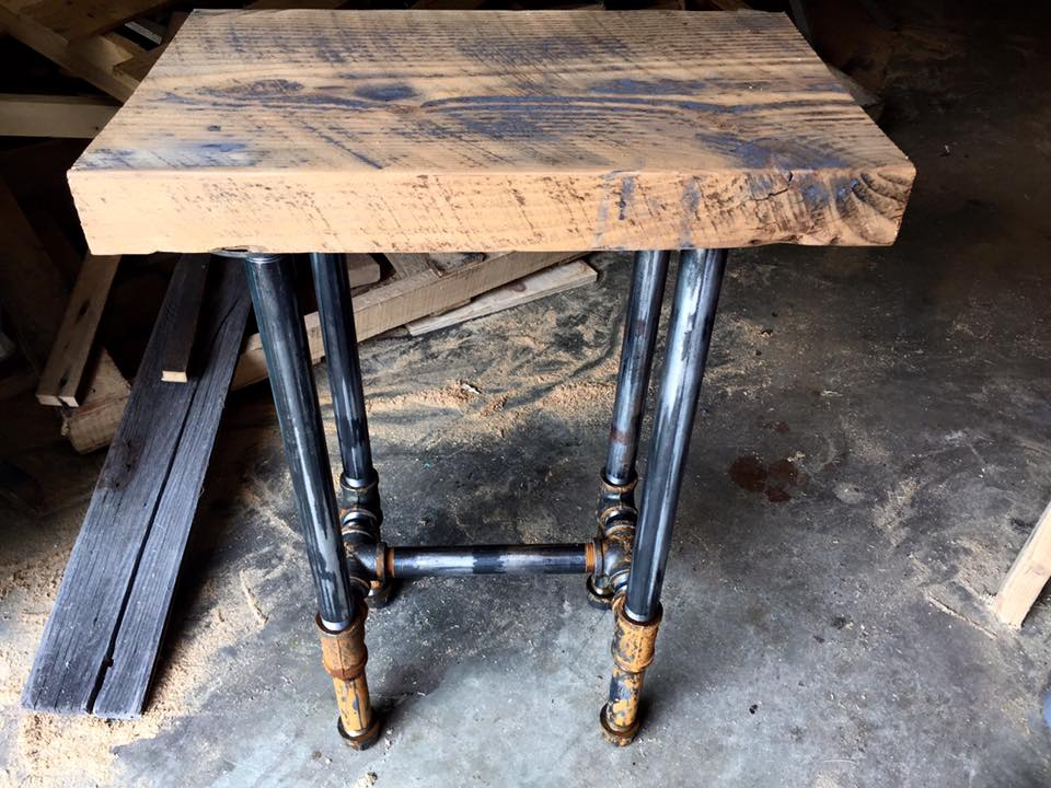 Industrial floor joists and metal piping bar stools