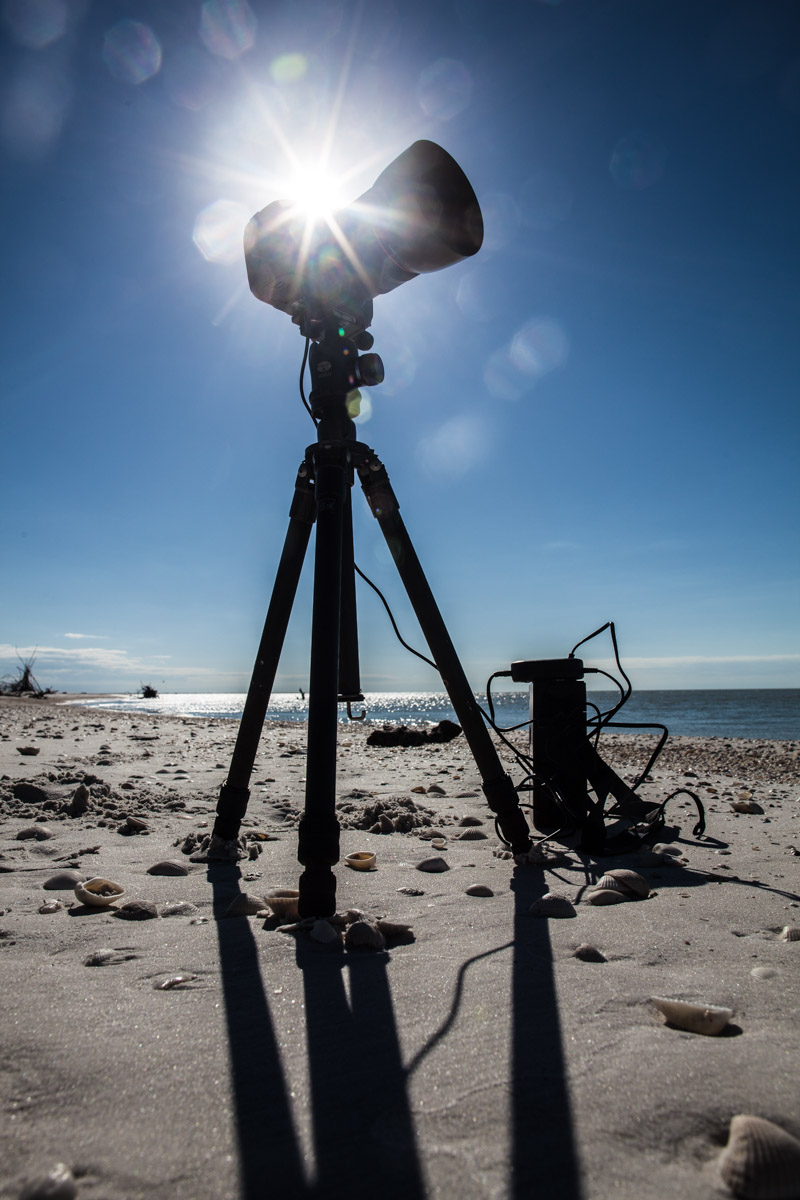 Getting the shots: The time lapse film (below) involved 3 overnight trips to the site and thousands of images to compile.
