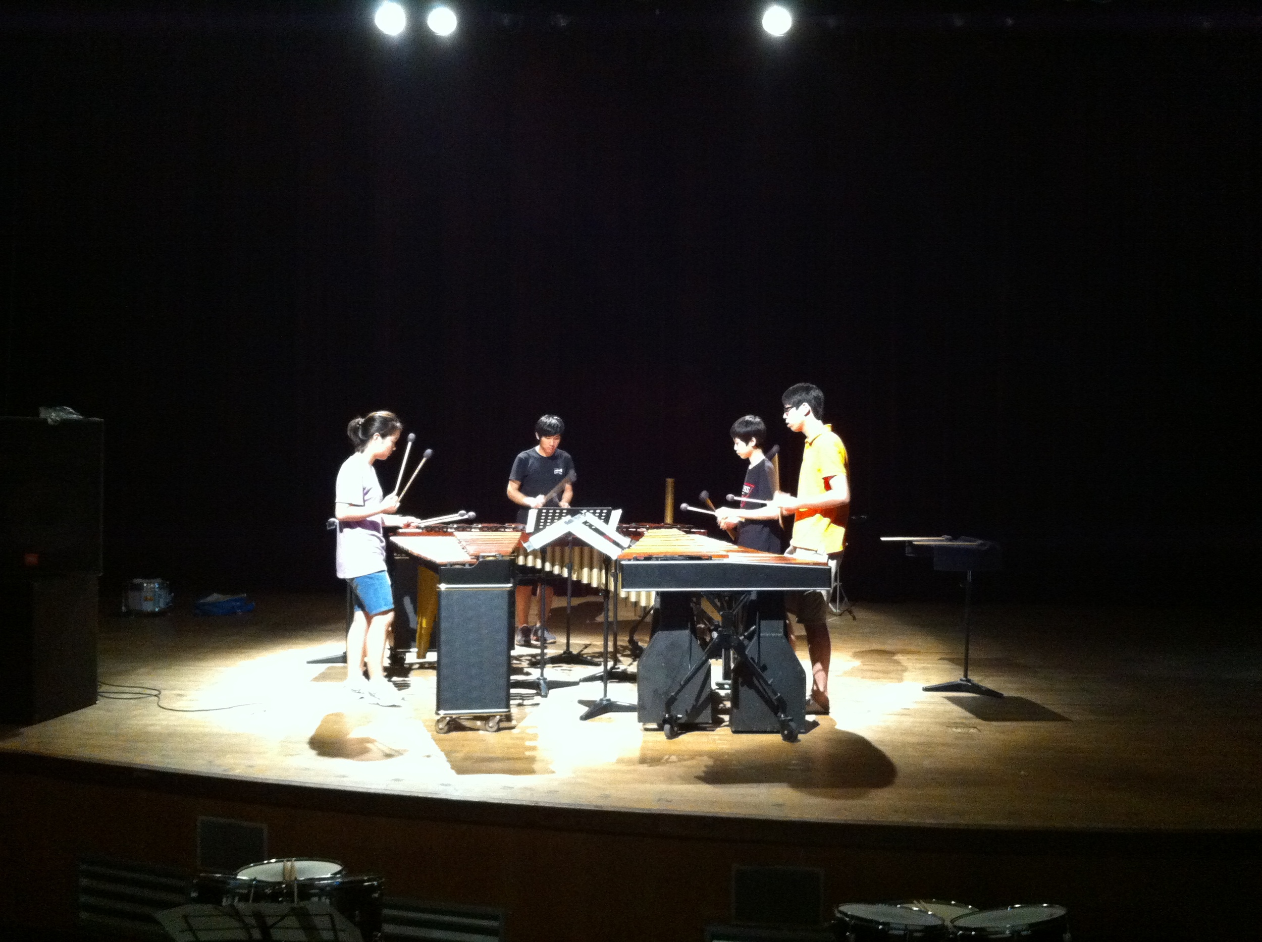 "Daejeon Youth Percussion Ensemble rehearsing ""Purdy's Maze"" at the Daejeon Recreation Center"