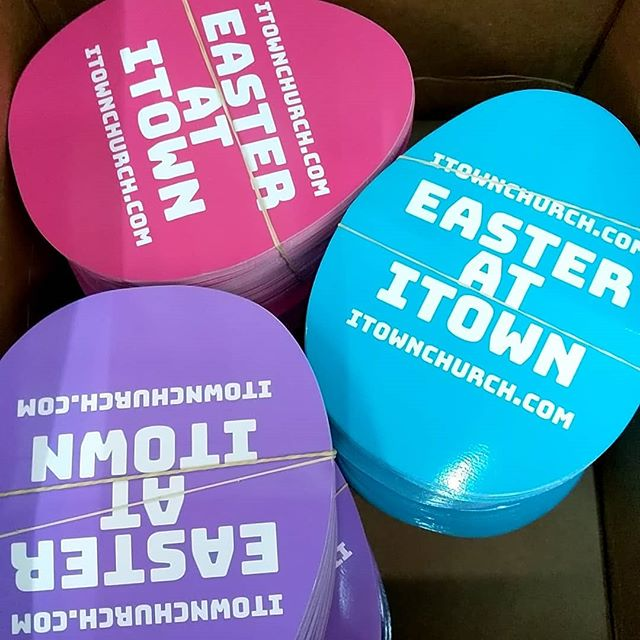 Easter basket of screen printed die cut stickers.  #teeshirt #illustrator #photoshop #printmaking #layers #texture #process #studio #garmentmanufacturer #manufacturing #instagood #apparelmanufacturing #apparelmanufacturer #apparel #artanddesign #tshirtprinter #screenprinting #customtshirts #Indiana #indytees #indyscreenprinter #indianapolis #stickers #easter