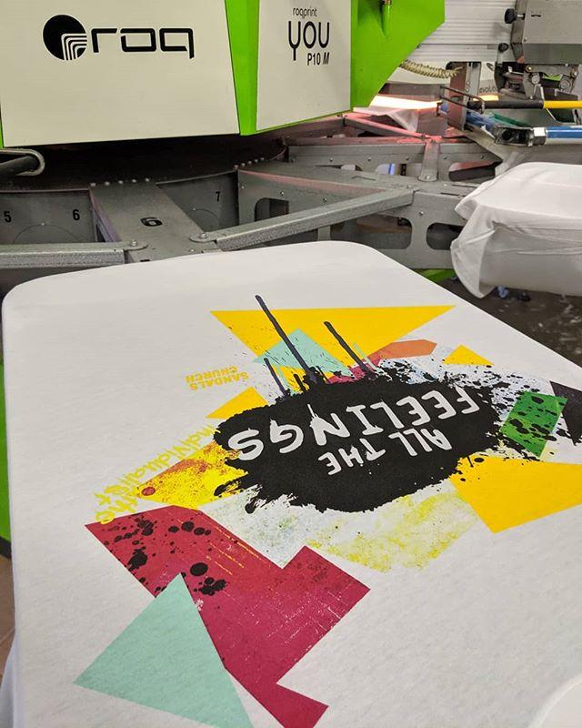 A series of waterbase printed shirts.  #teeshirt #illustrator #photoshop #printmaking #layers #texture #process #studio #garmentmanufacturer #manufacturing #instagood #apparelmanufacturing #apparelmanufacturer #apparel #artanddesign #tshirtprinter #roqtheprint #screenprinting #customtshirts #printlife #poweringtheprint #ryonet #roq #Indiana #indytees #indyscreenprinter #enneagram #waterbase