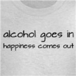 Alcohol Goes In Happiness Comes Out funny t-shirt