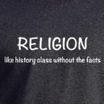 religion like history class without facts funny atheism t-shirts and gifts