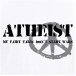 atheists fairy tales don't start wars pacifist atheism shirts